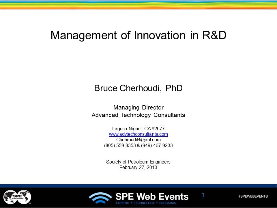 Management of Innovation in R&D Organizations